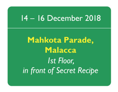 Visit us at Mahkota Parade for a fun filled activity this Christmas from 14 to 16 December 2018.