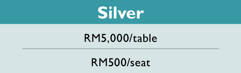 #BizForChildren Charity Dinner. Silver sections. RM5,000 per table, RM500 per seat.