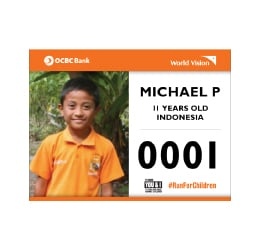 World Vision Malaysia #RunForChildren - Runners bib
