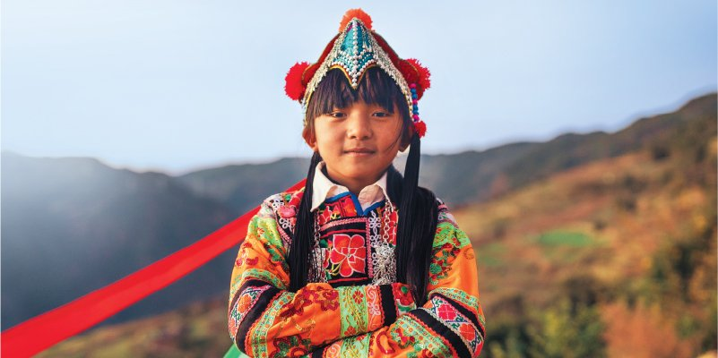A girl in Chinese red costume