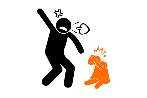 icon of an angry father scolding and hitting a child
